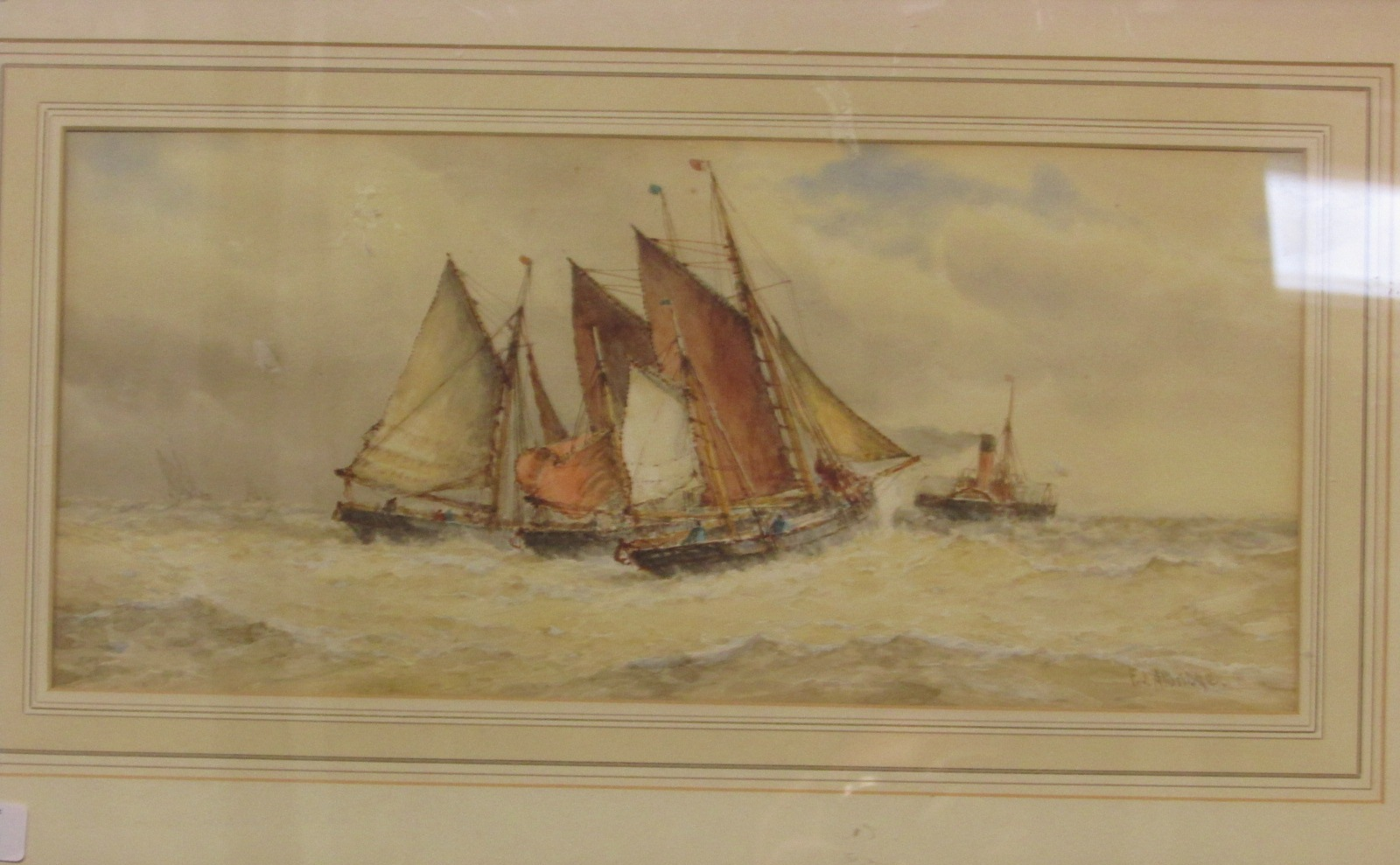 Lot 44 - Trawlers and paddle steamer, watercolour, signed F J Aldridge lower right, (20.5cm x 45.5cm),