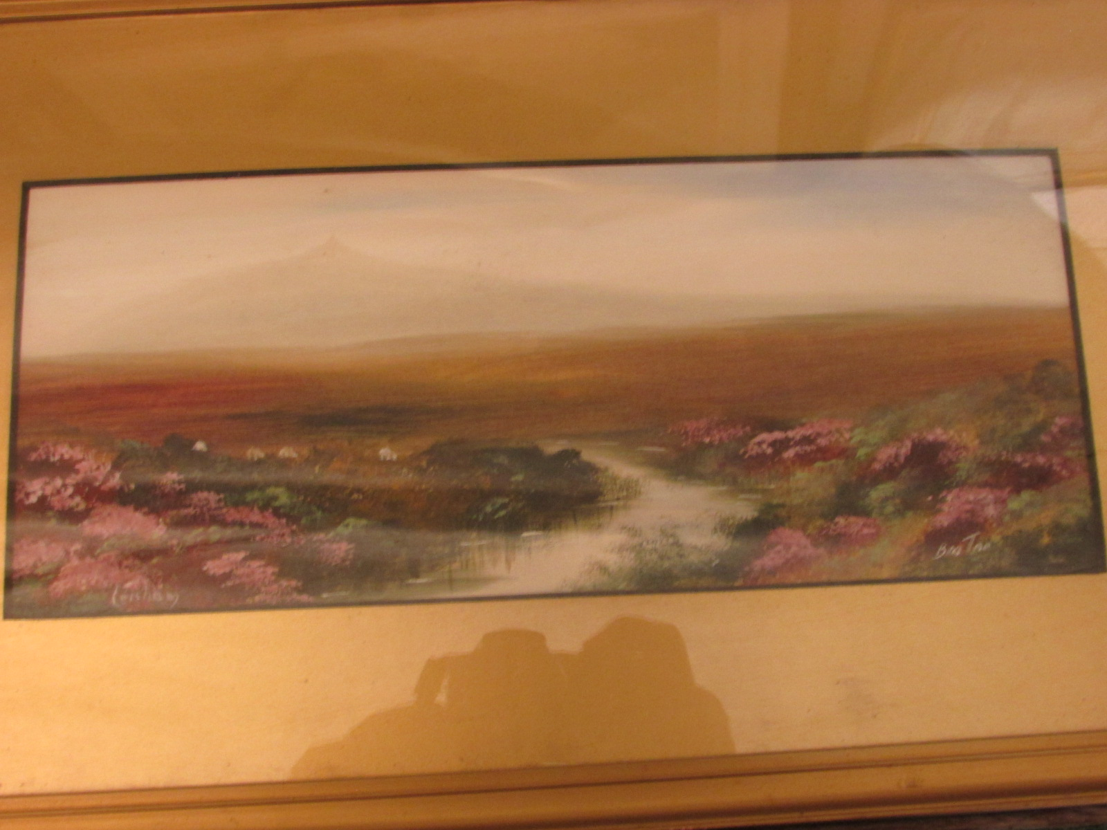 Lot 31 - Two moorland Tor landscapes, gouache, each 12cm x 30cm with indistinct signature and titles,