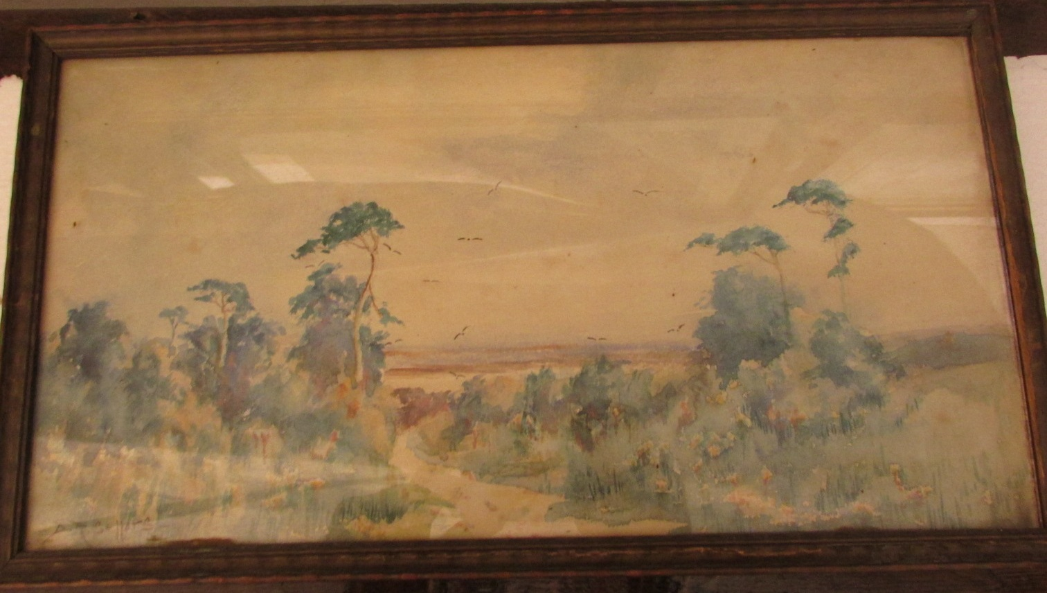 Lot 15 - Summer landscape with trees and birds, watercolour, signed D R Sellars lower left, (17cm x 32cm),