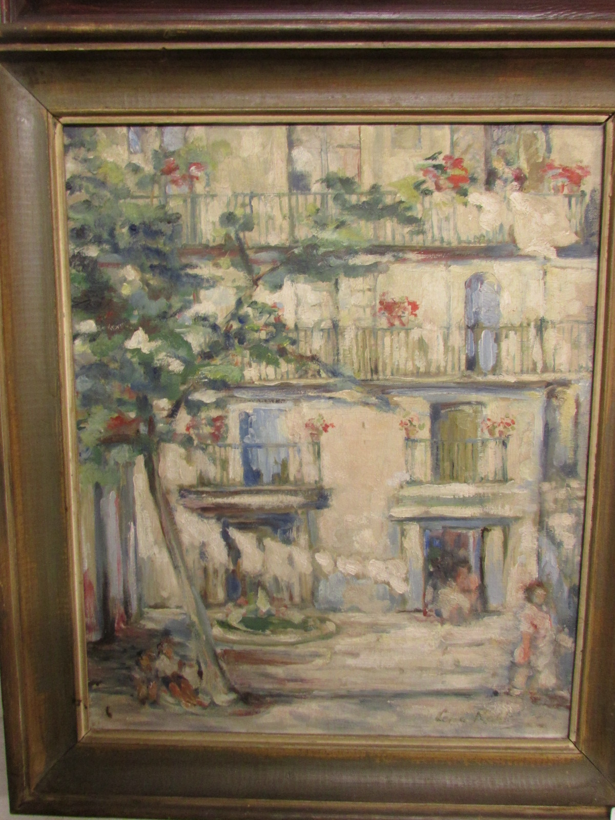 Lot 21 - Balconied house with tree and figures, oil on canvas, signed Lena Robb lower right, (55cm x 45.5cm),