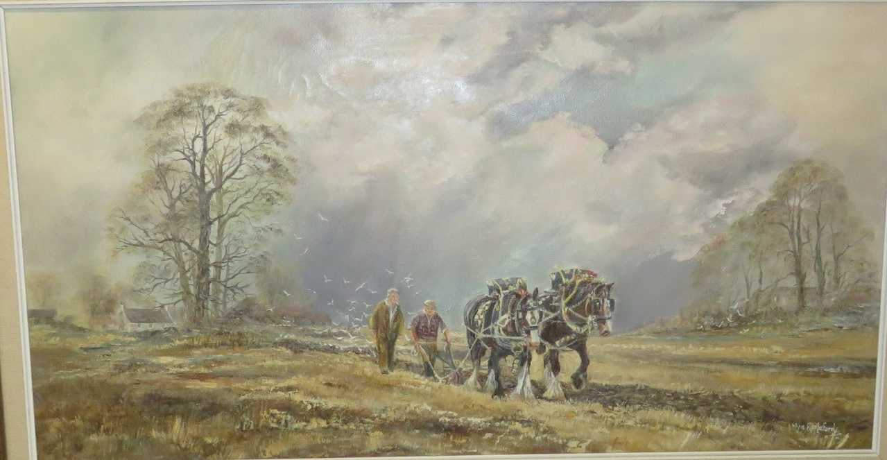 Lot 43 - 'Valiant and Goliath Ploughing Match', oil on canvas, signed Wyn Appleford lower right, (39cm x
