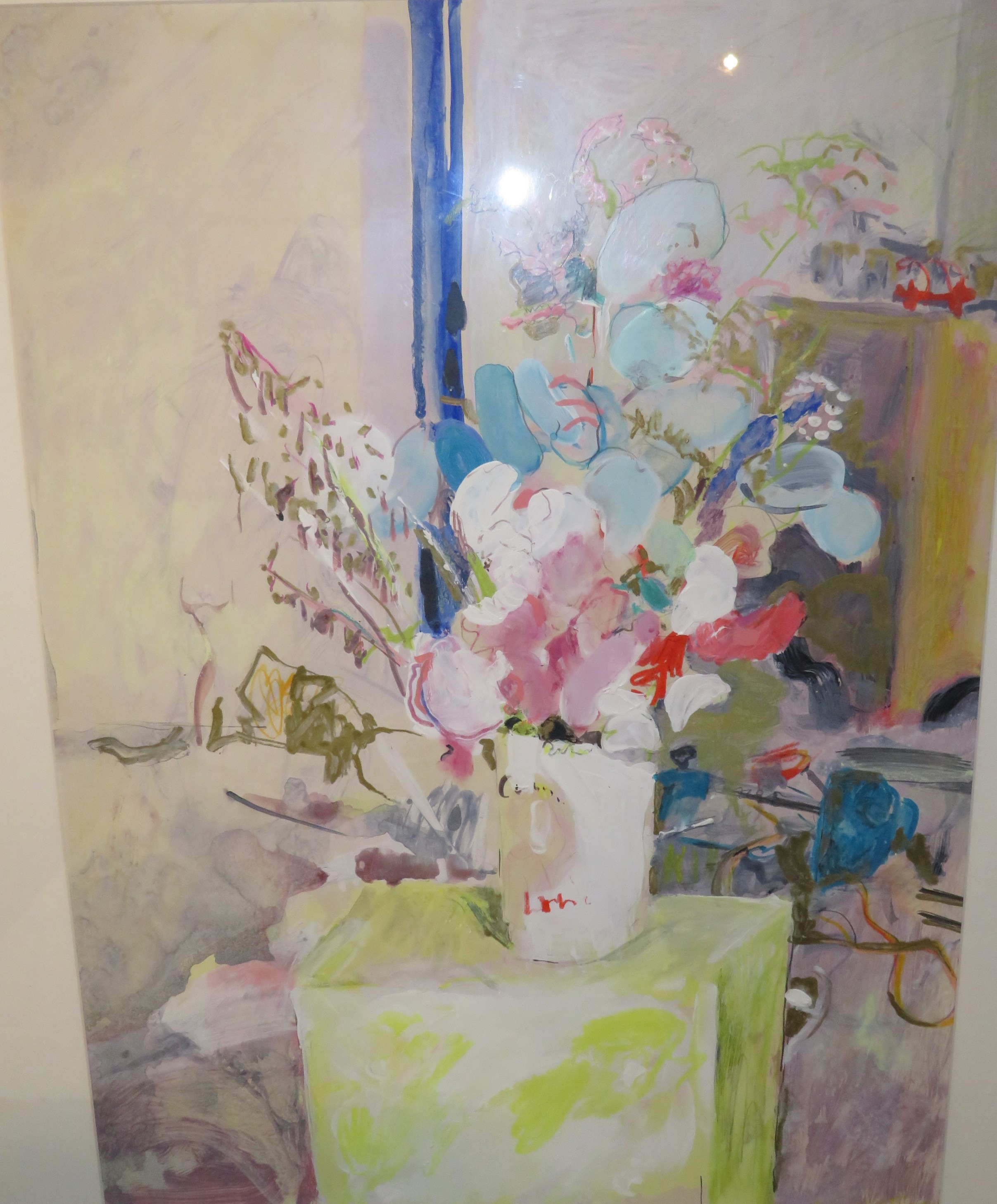 Lot 28 - Still life with vase of flowers, mixed media, signed Jacquie Turner lower right, (59cm x 44cm) F&G