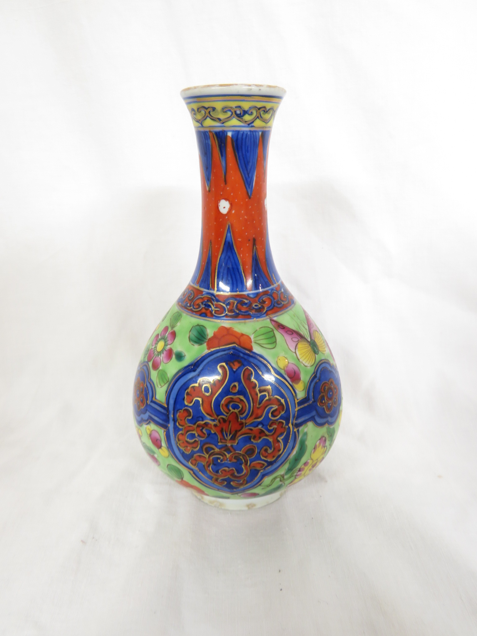 Lot 101 - Satsuma type pottery double gourd vase gilded and enamelled with flowers, birds and patterned