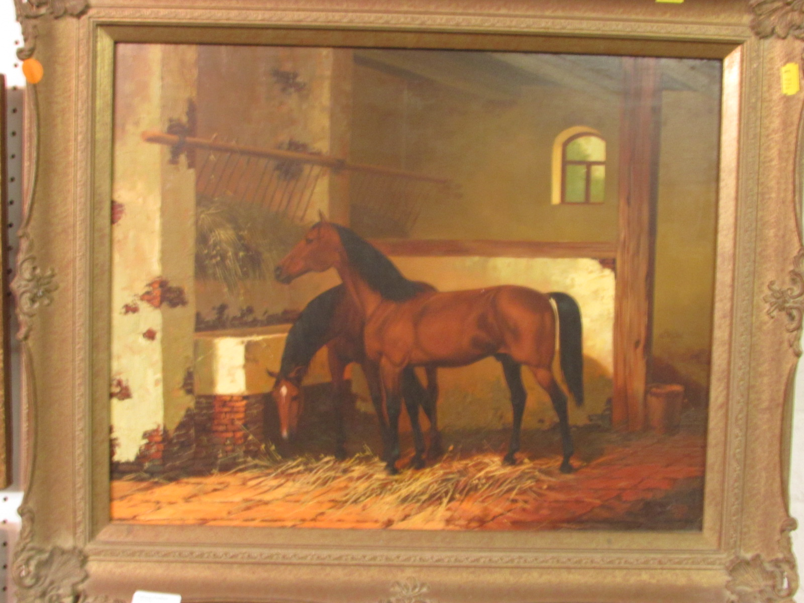 Lot 51 - Two horses in stable, oil on panel, signed and dated Liss 86 lower right (see illustrating