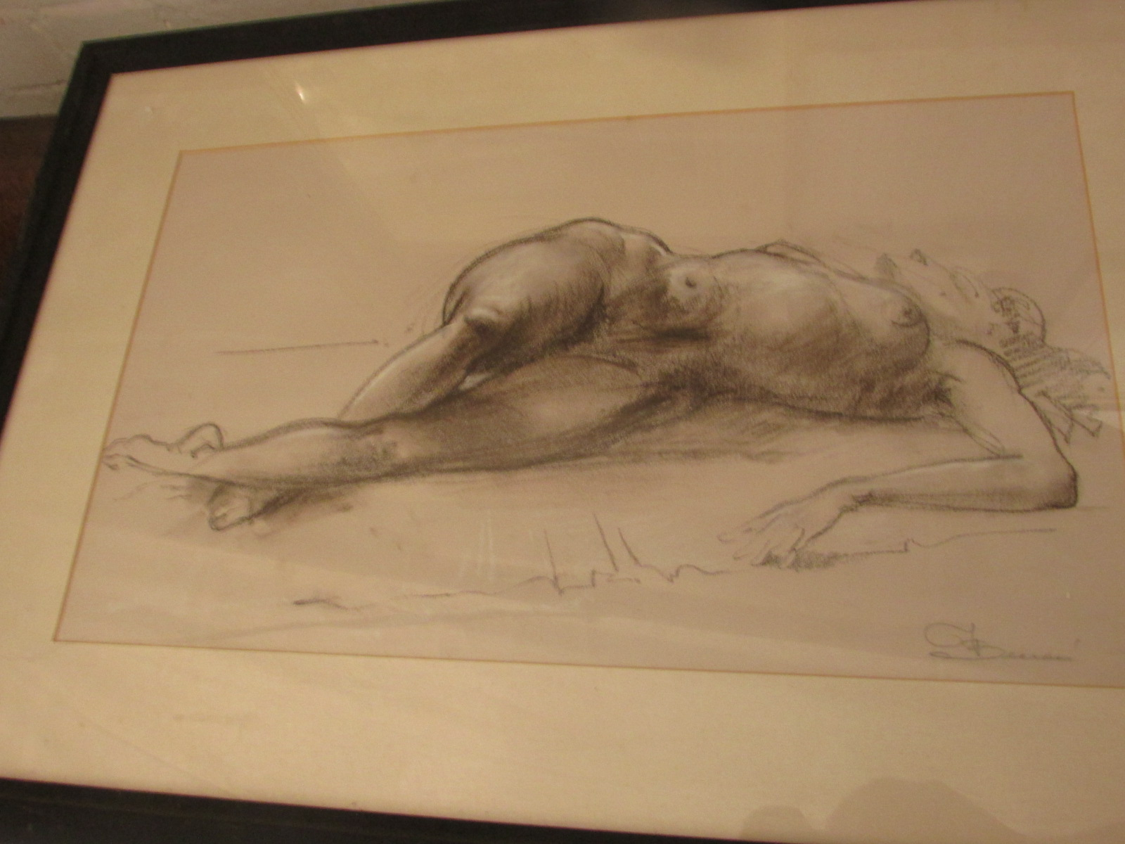 Lot 18 - Reclining nude woman, conte crayon and chalk, indistinct signature lower right (perhaps F.