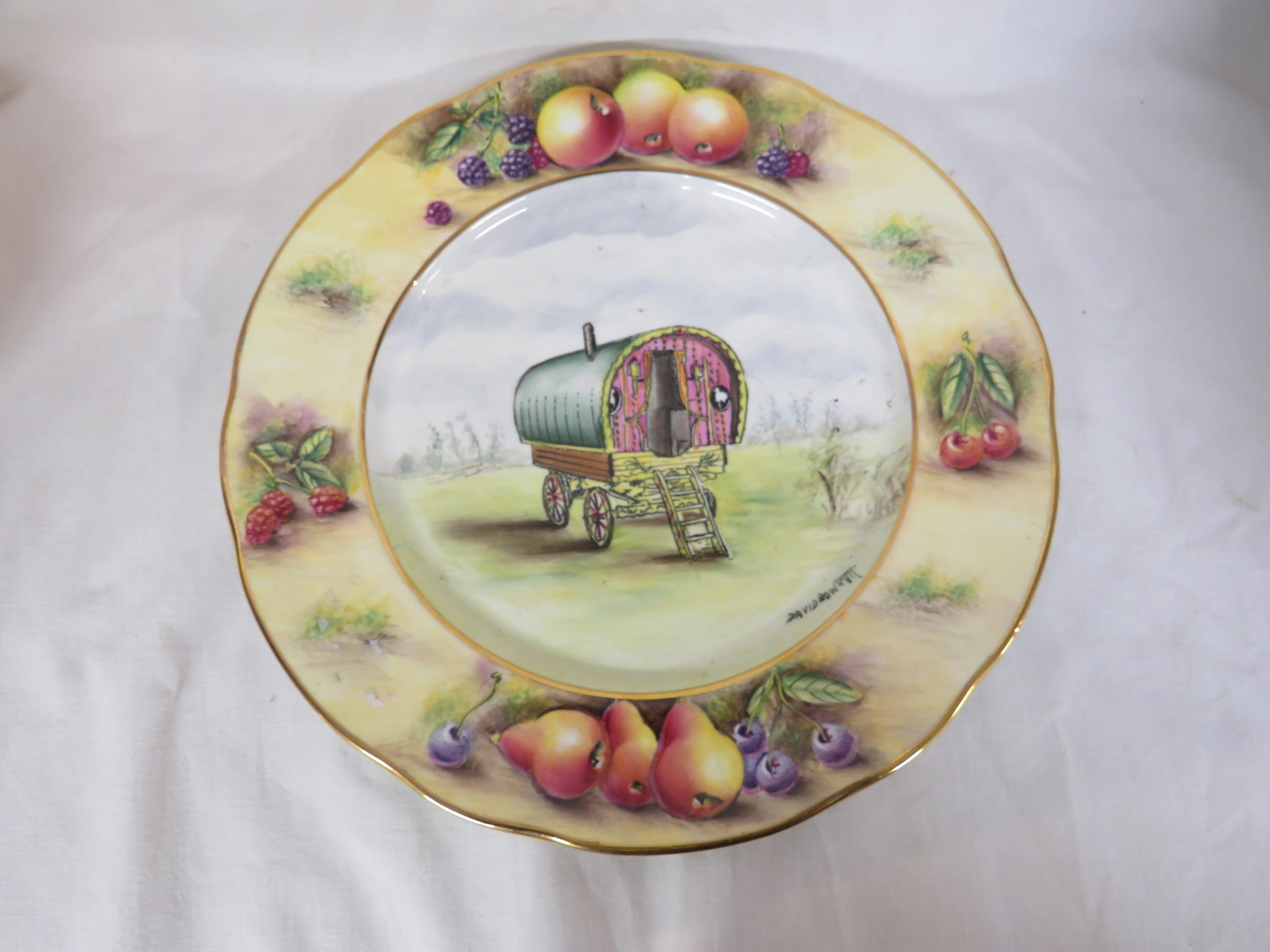 Lot 108 - Three D.R.B. bone china hand painted plates by David Bowkett depicting gypsy wagons, diameter 26cm