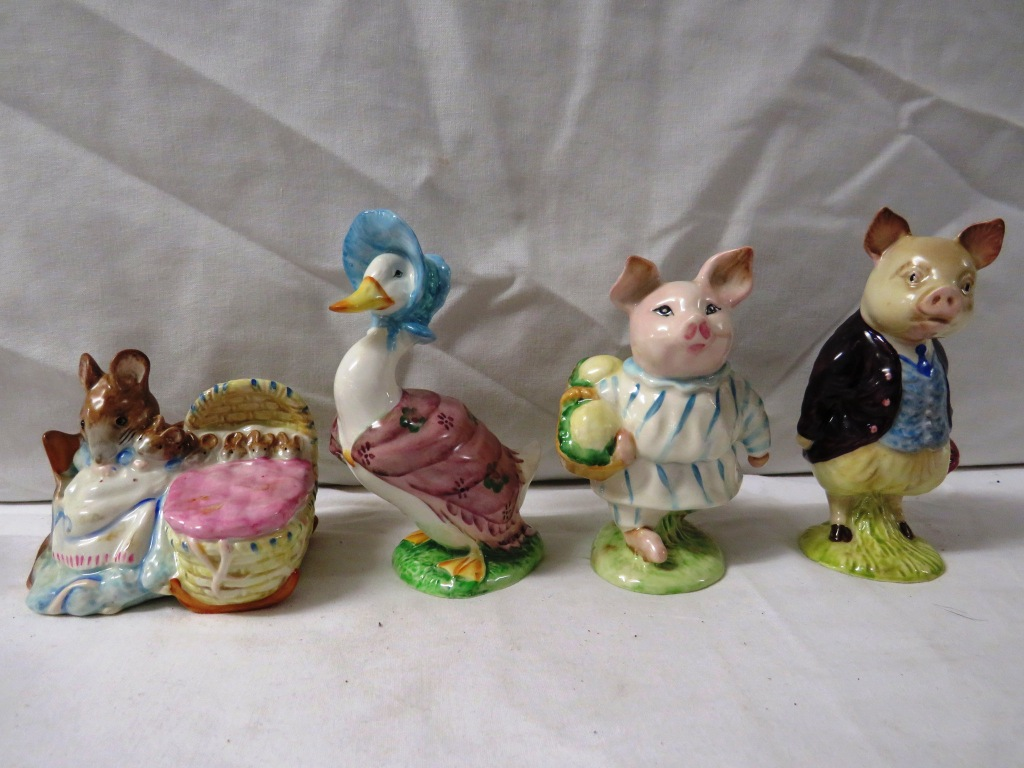 Lot 74 - Ten Beswick F. Warne and Co. Ltd Beatrix Potter figures - Benjamin Bunny, Foxy Whiskered
