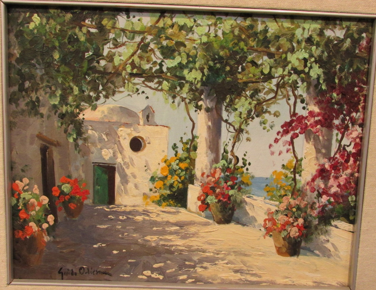 Lot 42 - Estate A Capri, oil on board, signed Guido Odierna lower left, (22cm x 28cm), framed, titled and