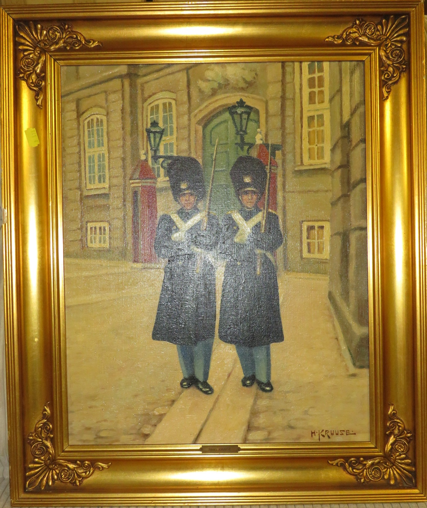 Lot 3 - Two sentries, oil on canvas, signed lower right (48.5cm x 38.5cm), in a gilt frame with brass plaque