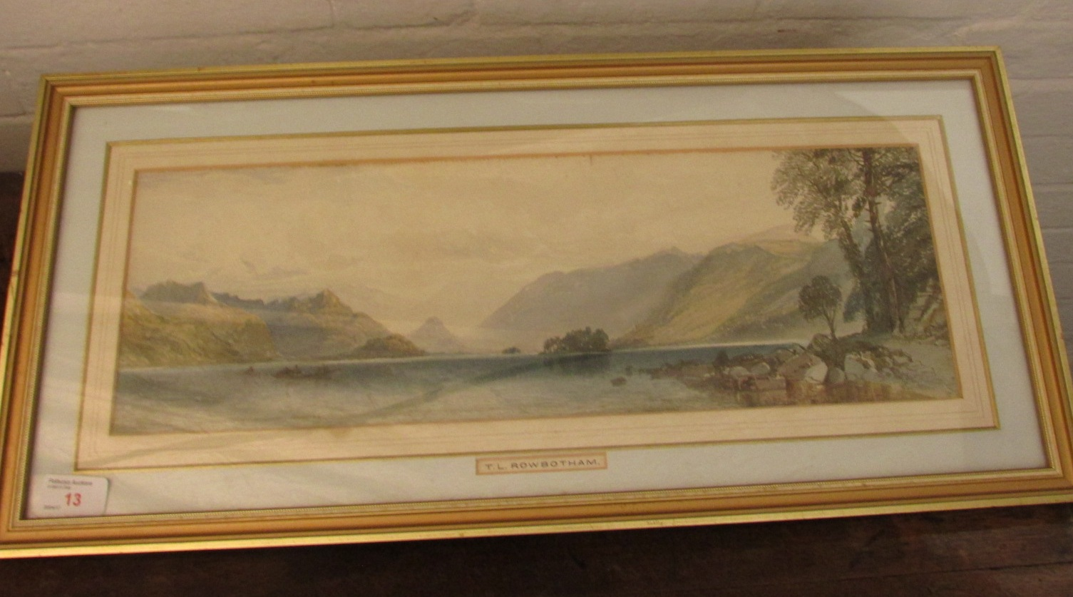 Lot 13 - Lake district water with boats, watercolour, (16.5cm x 50cm), indistinct signature lower right,