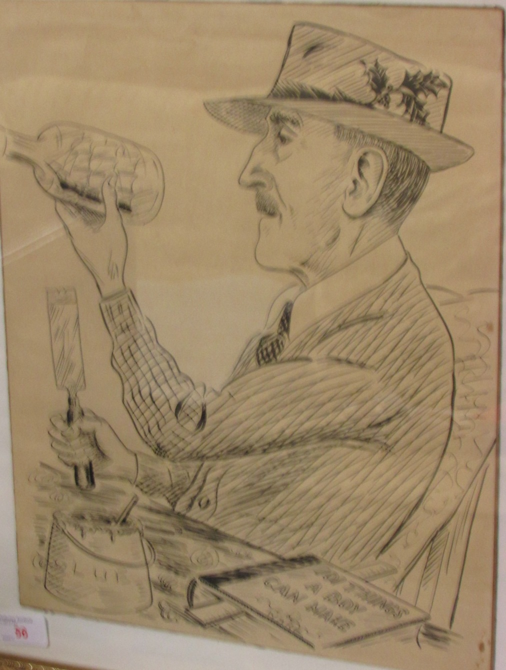 Lot 56 - A gentle cartoon depicting a gentleman making a ship in bottle with a book before him '101 things