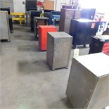 LOT - (5) STEEL TOOL CABINETS ON CASTERS & (1) STEEL WORK STATION DESK