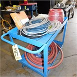 STEEL PUSH CART W/MISC HOSES