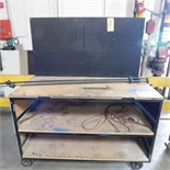 STEEL WORK BENCH ON CASTERS