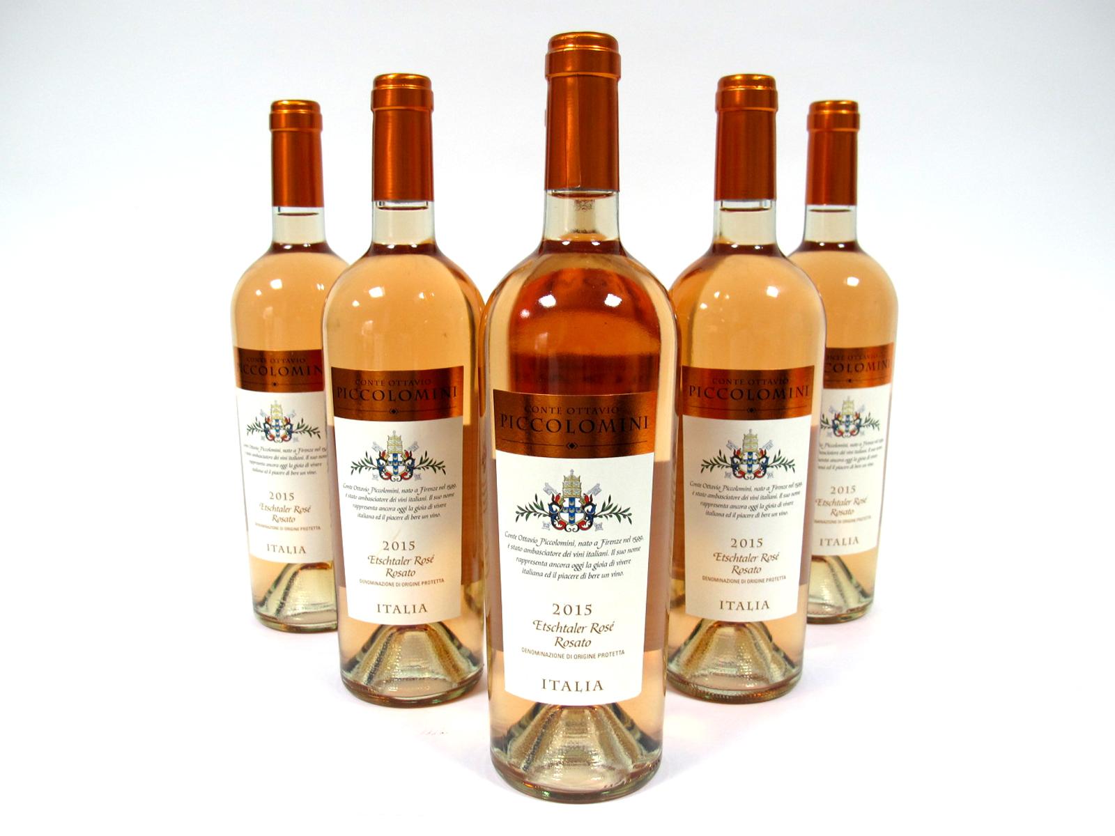 Lot 19 - Wine - Conte Ottavio Piccolomini Etschtaler Rose 2015, 0.75l, 11% Vol. six bottles. (6)