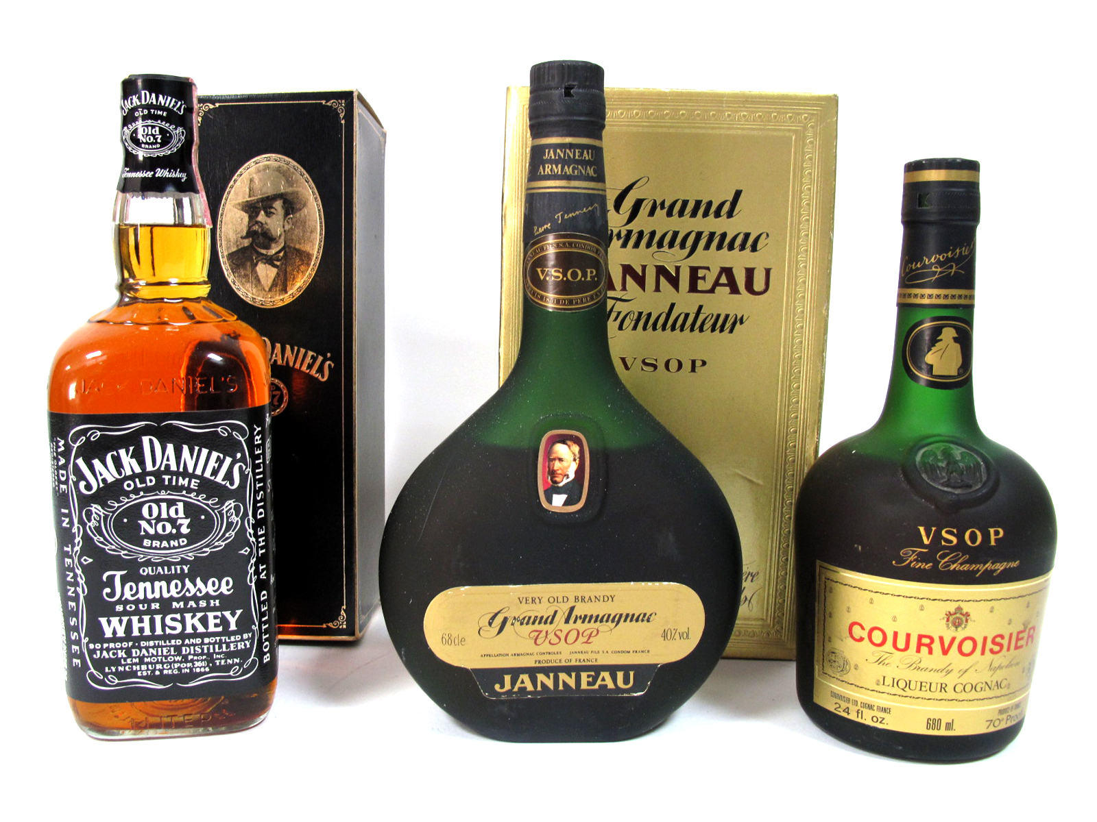 Lot 61 - Spirits - Janneau Grand Armagnac V.S.O.P Very Old Brandy, 40% proof, 68cl, boxed; Courvoisier