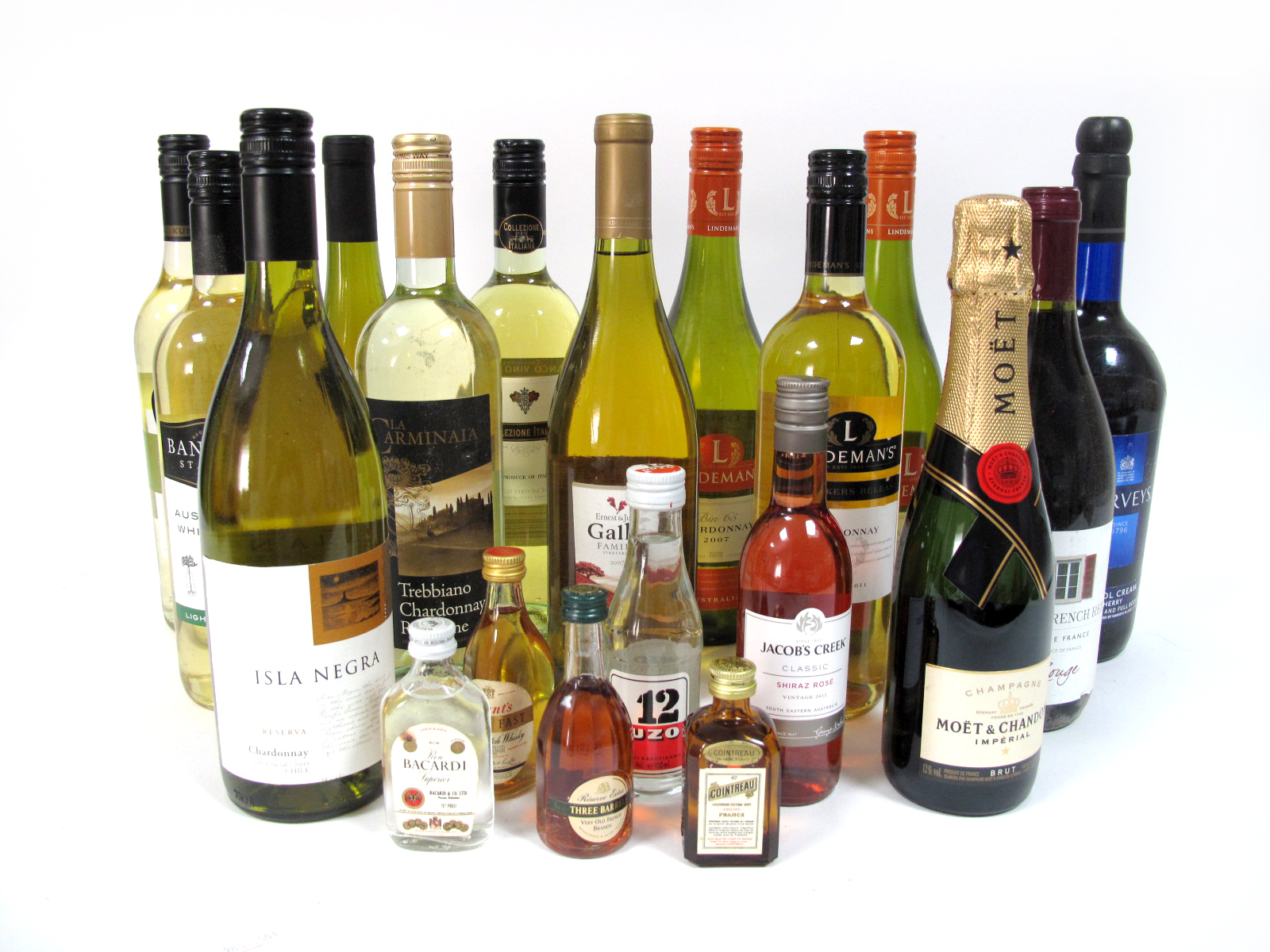 Lot 3 - Wines - A Collection of Ten Assorted White Wines, Harvey's Sherry, One Bottle of Red Wine, Five