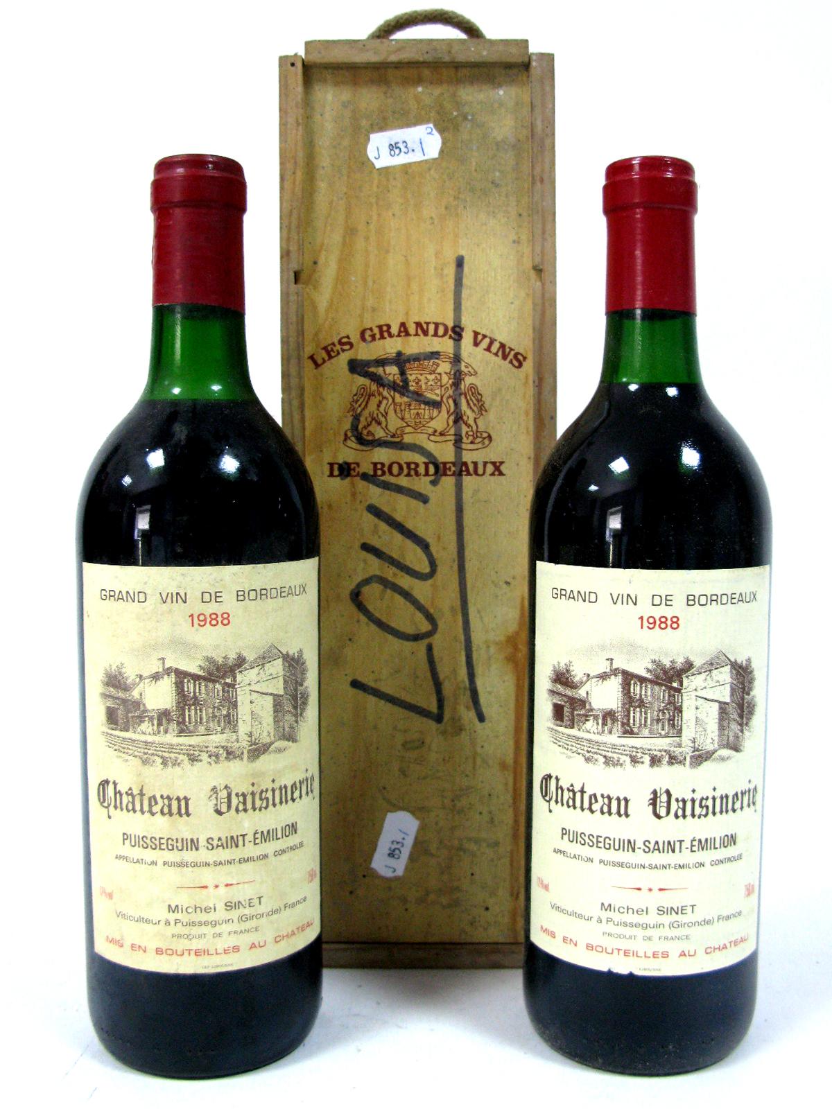 Lot 17 - Wine - Chateau Vaisinerie Grand Vin De Bordeau 1988, Puisseguin Saint Emilion, 750ml, 12% Vol. (2,