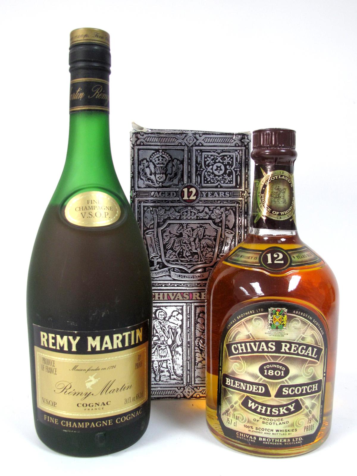 Lot 59 - Spirits - Remy Martin V.S.O.P Fine Champagne Cognac, 70% proof, 68.2cl; Chivas regal Blended