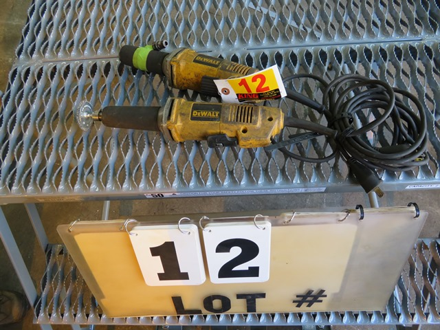 "Lot 12 - Pair of Dewalt 1 1/2"" Die Grinders"