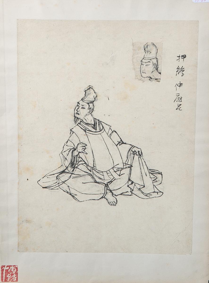 Lot 49 - Unbekannter Künstler, Studie, Tuschezeichnung (Japan), rechts oben bez., li. u. Stempel,ca. 41,5 x
