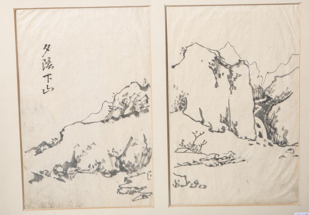 Los 48 - Unbekannter Künstler, Tuschezeichnung auf Seidenpapier (Japan), li. signiert, Doppelblatt,ca. 26 x