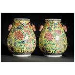 PAIR OF VASES WITH STAG HEADS Porcelain with enamel painting. China, in Qianlong era style, Qing