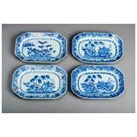 FOUR FLORAL DECORATIVE PLATES Blue and white porcelain. China, Qing dynasty, 19th centuryIn the form