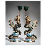A PAIR OF CLOISONNE CANDLESTICKS IN THE FORM OF DRAGON FISH Cloisonneenamel. China, Qing dynastyA