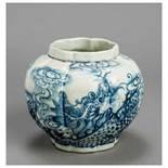 A CHINESE GLAZED STONEWARE POT VESSEL WITH DRAGON Glazed stoneware. China, late Ming dynasty to