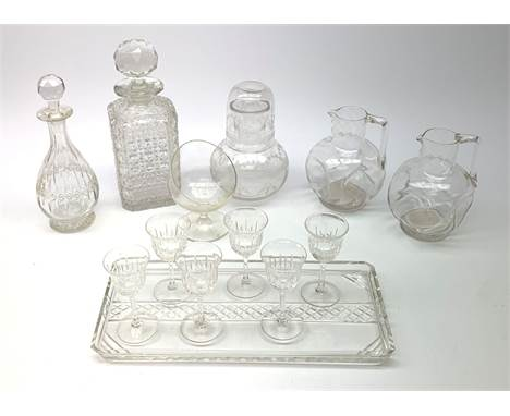 A set of six Thomas Webb liquor cut glasses, together with a matching liquor decanter, each marked, glasses H9.5cm, decanter