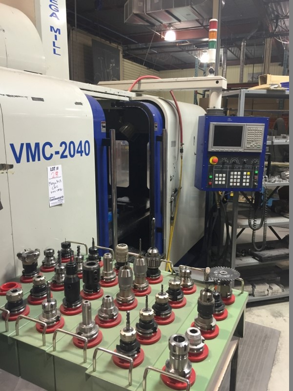 Lot 28 - Mega Mill CNC w/computer and tooling VMC-2040 voltage:575