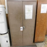 "2-DOOR STEEL STORAGE CABINET W/ KEY, 3' X 18"" X 6'"