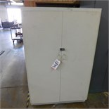 "2-DOOR WOOD STORAGE CABINET W/ LOCK & KEY, 42"" X 26"" X 65"""