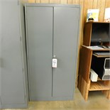 "2-DOOR STEEL STORAGE CABINET W/ KEY, 3' X 18"" X 72"""