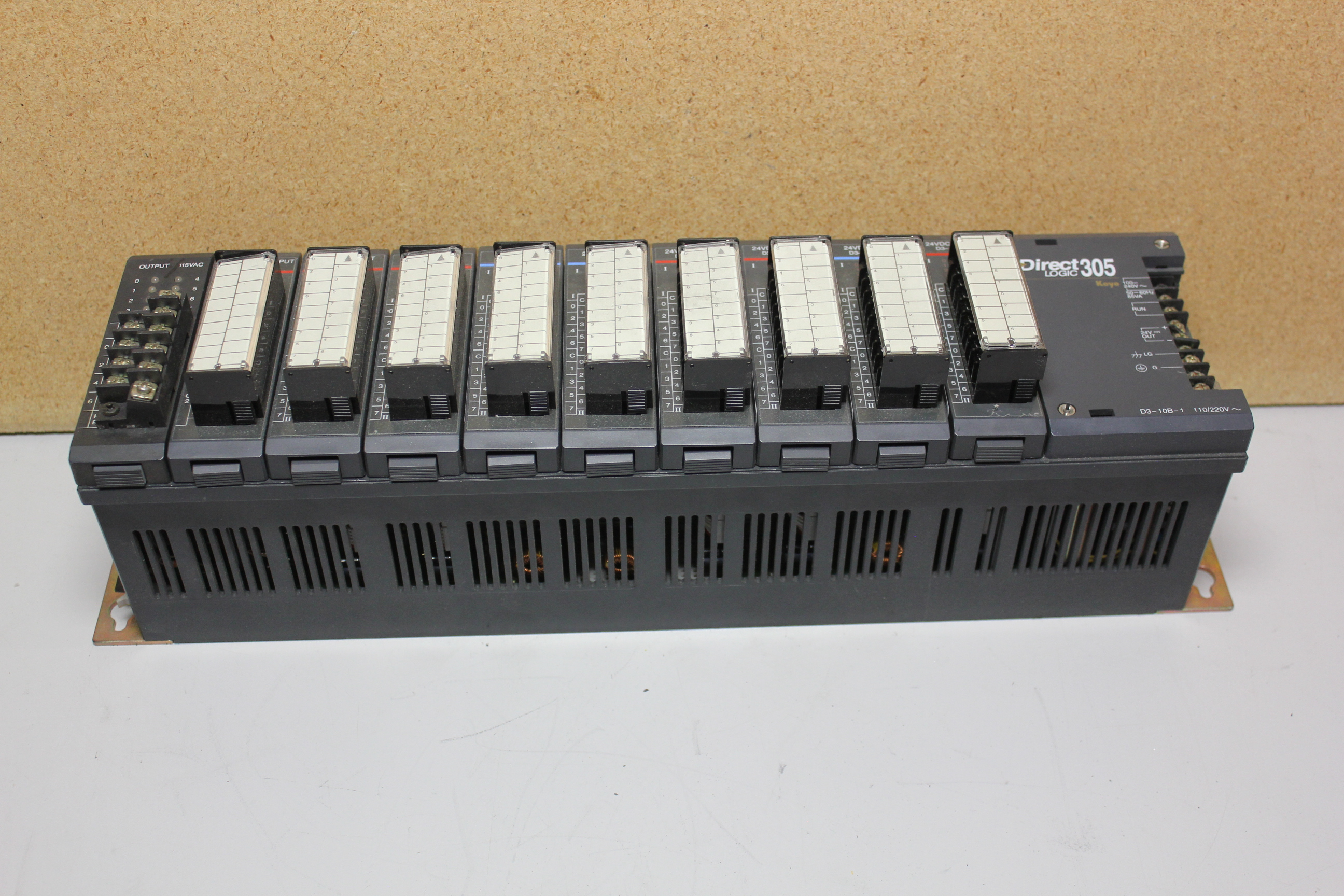 KOYO DIRECT LOGIC 305 PLC CHASSIS WITH 10 MODULES