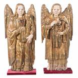 Angels. Pair of carved, gilded and polychromed wooden sculptures. Burgos. Gothic. 15th century.