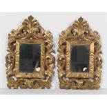 Pair of carved and gilded wooden cornucopias. 18th century.