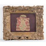 Fragment of embroidery depicting a Archbishop coat of arms. 17th – 18th century. <b