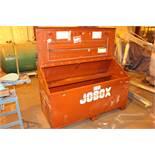 """JOBOX Job Box, 60"""" wide, 32""""deep, 40"""" high w/ vise attached"""