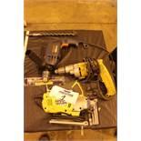 Lot of (1) Ryobi Jig Saw, (1) Dewalt Drill, (1) Black & Decker Saw, (1) Bosch Rotary Hammer Drill