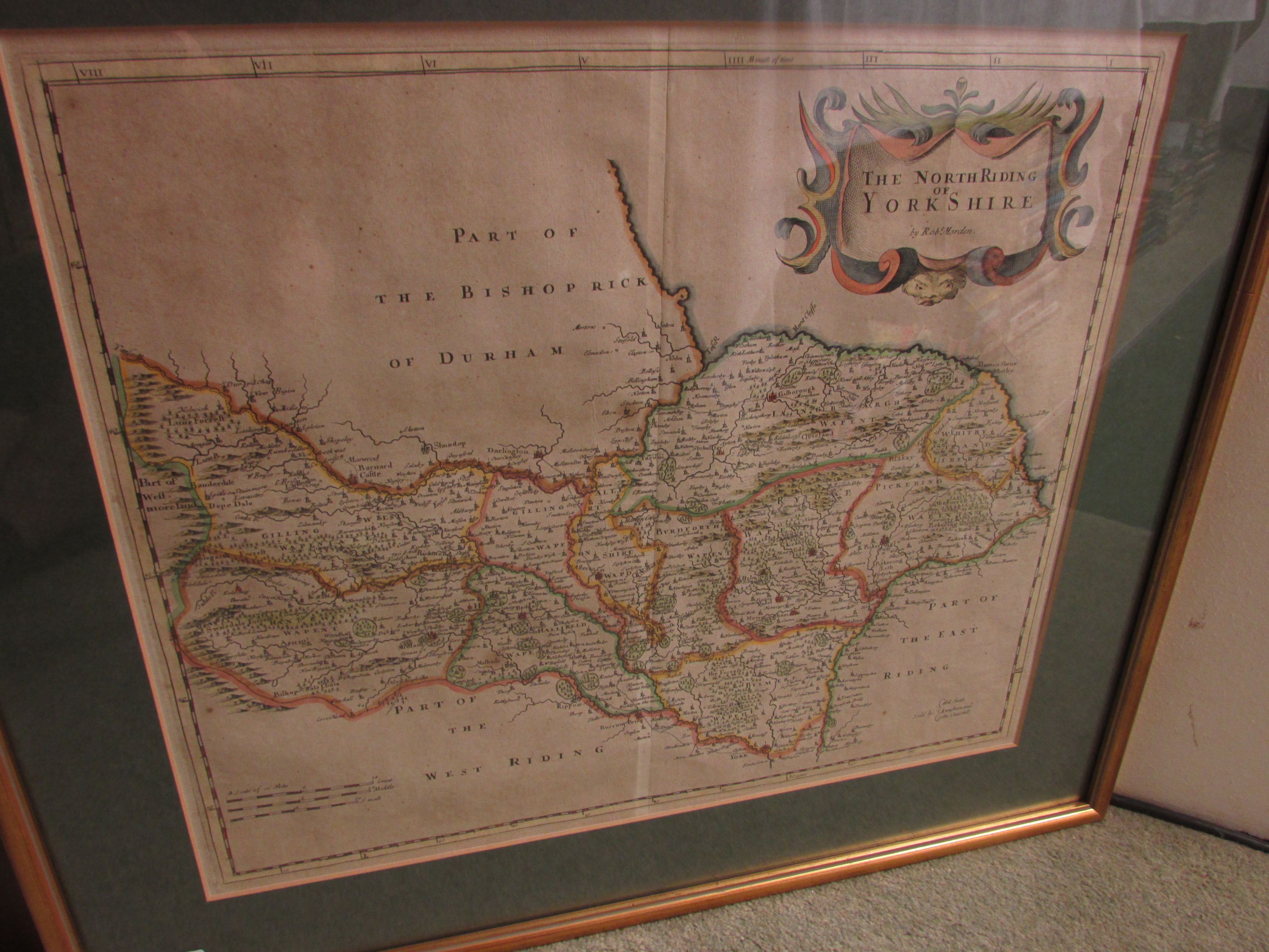 Lot 196 - The North Riding of Yorkshire - hand coloured map after Robert Morden, sold by Abel Swale Awnsham