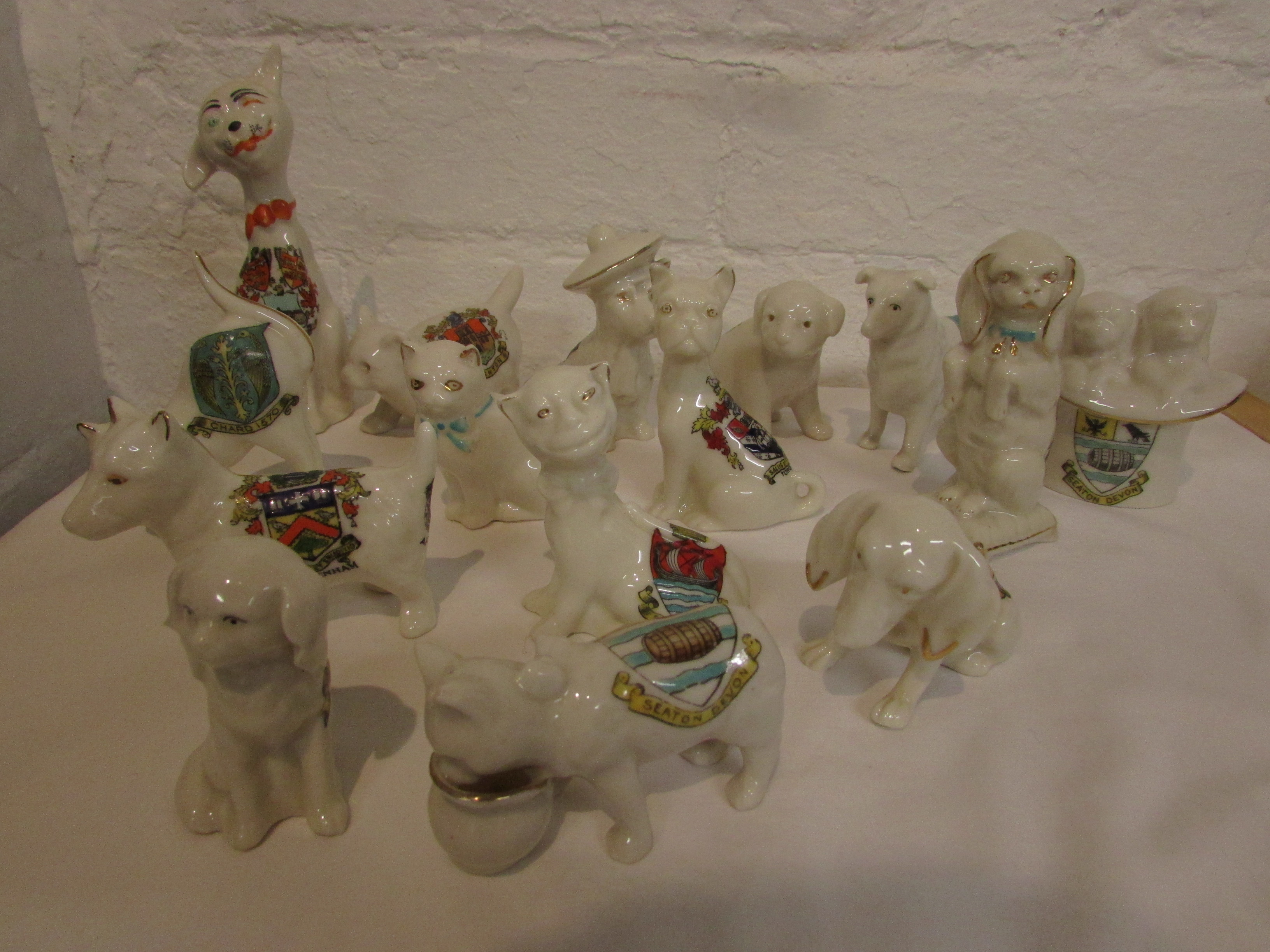 Lot 48 - Fifteen various crested china figures of cats and dogs - Arcadian, Grafton, Queens etc, including