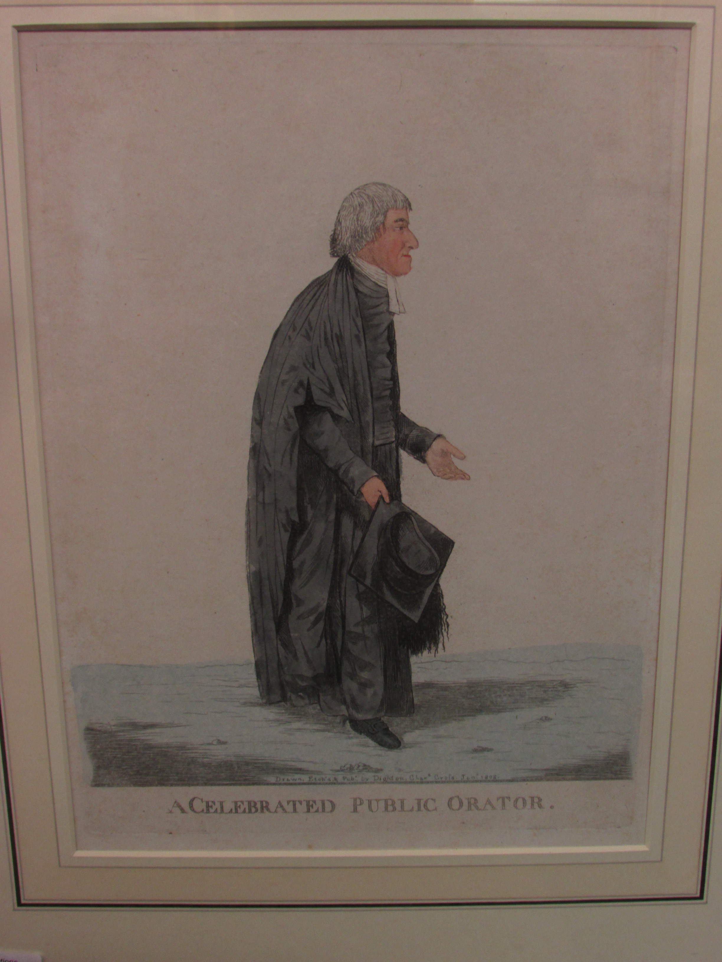 Lot 219 - After Dighton, 'A Celebrated Public Orator', tinted etching, 'Drawn Etch'd & Pubd by Dighton Chars