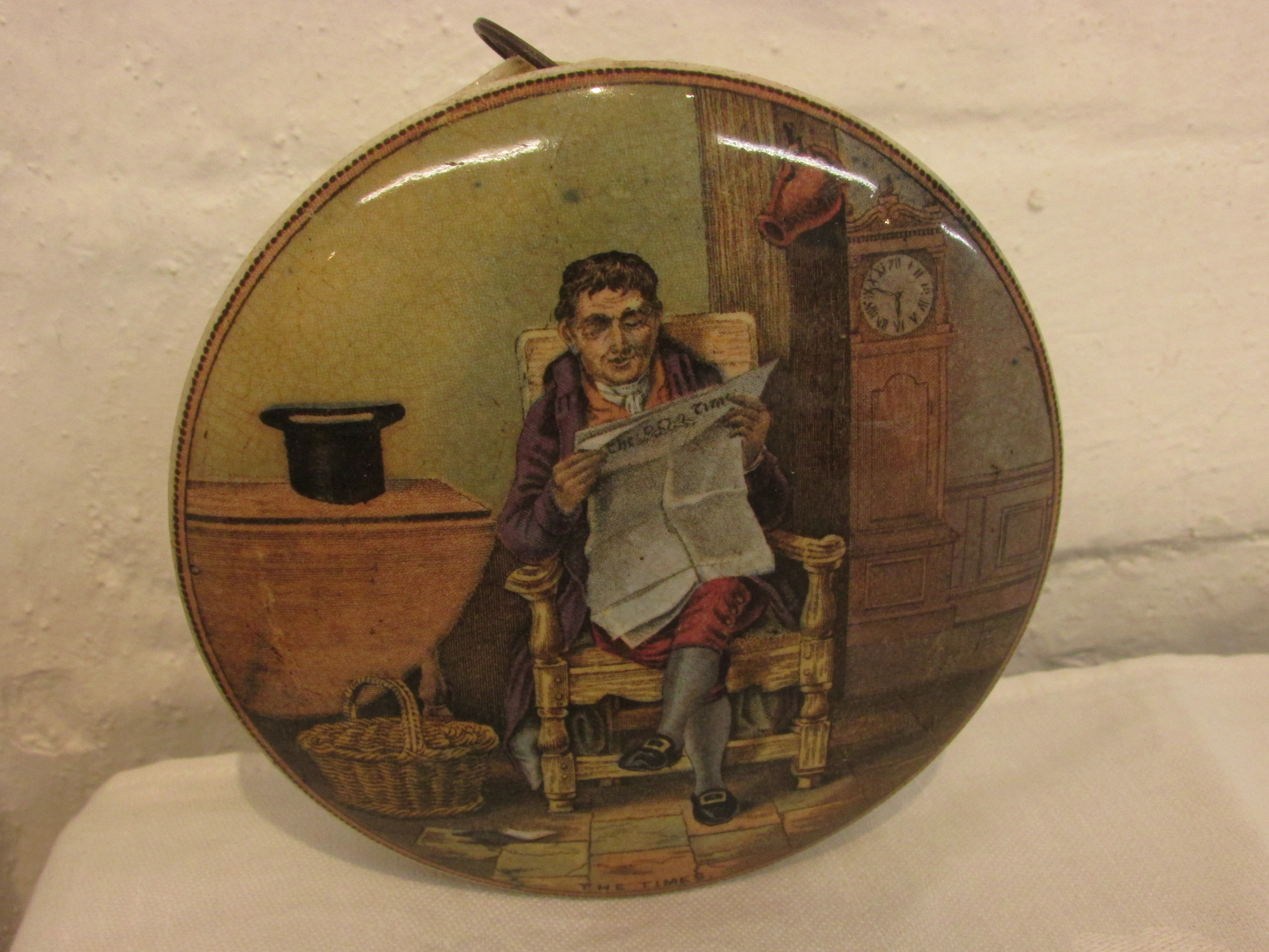 Lot 53 - Seven Pratt pot lids - The Trooper, The Times, P. Wouverman Pinx, The Shrimpers, Hide and Seek, Game