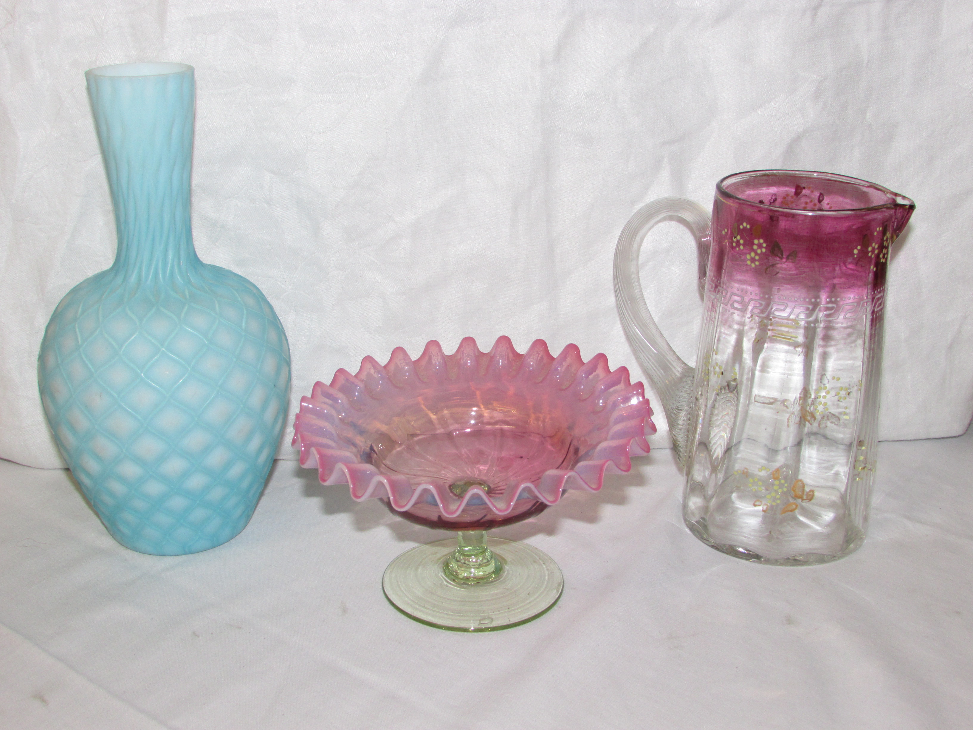 Lot 74 - A Victorian pink and green glass bon bonier with crepe rim (diameter 15cm); a blue and white