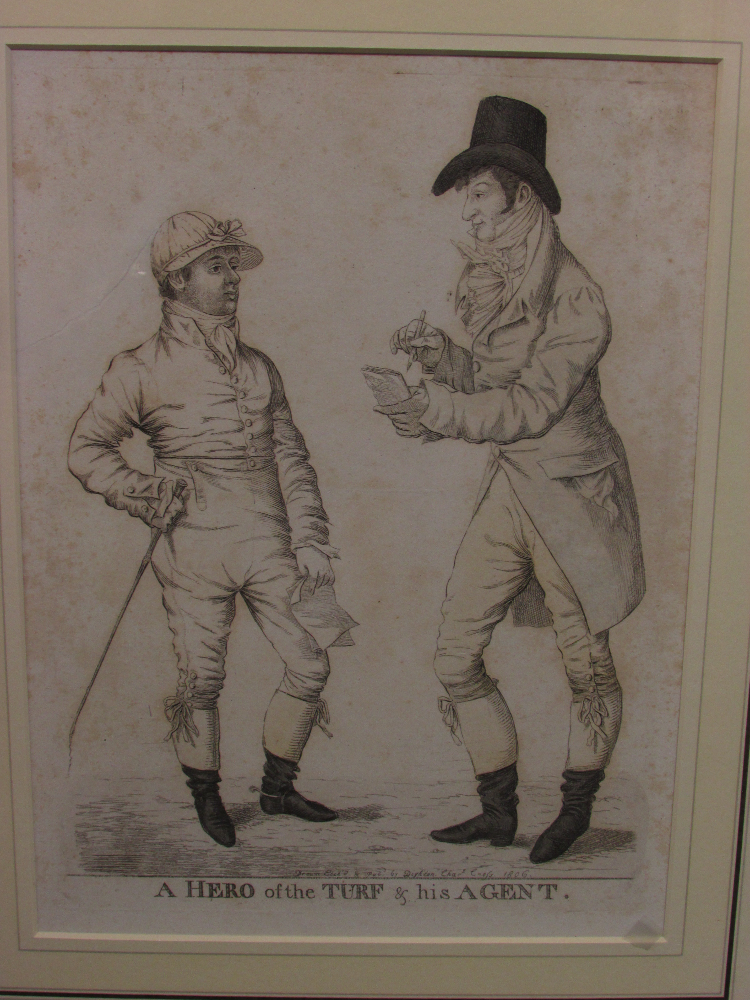 Lot 220 - After Dighton, 'A Hero of the Turf and his agent', etching, 'Drawn Etch'd & Pubd by Dighton Chars