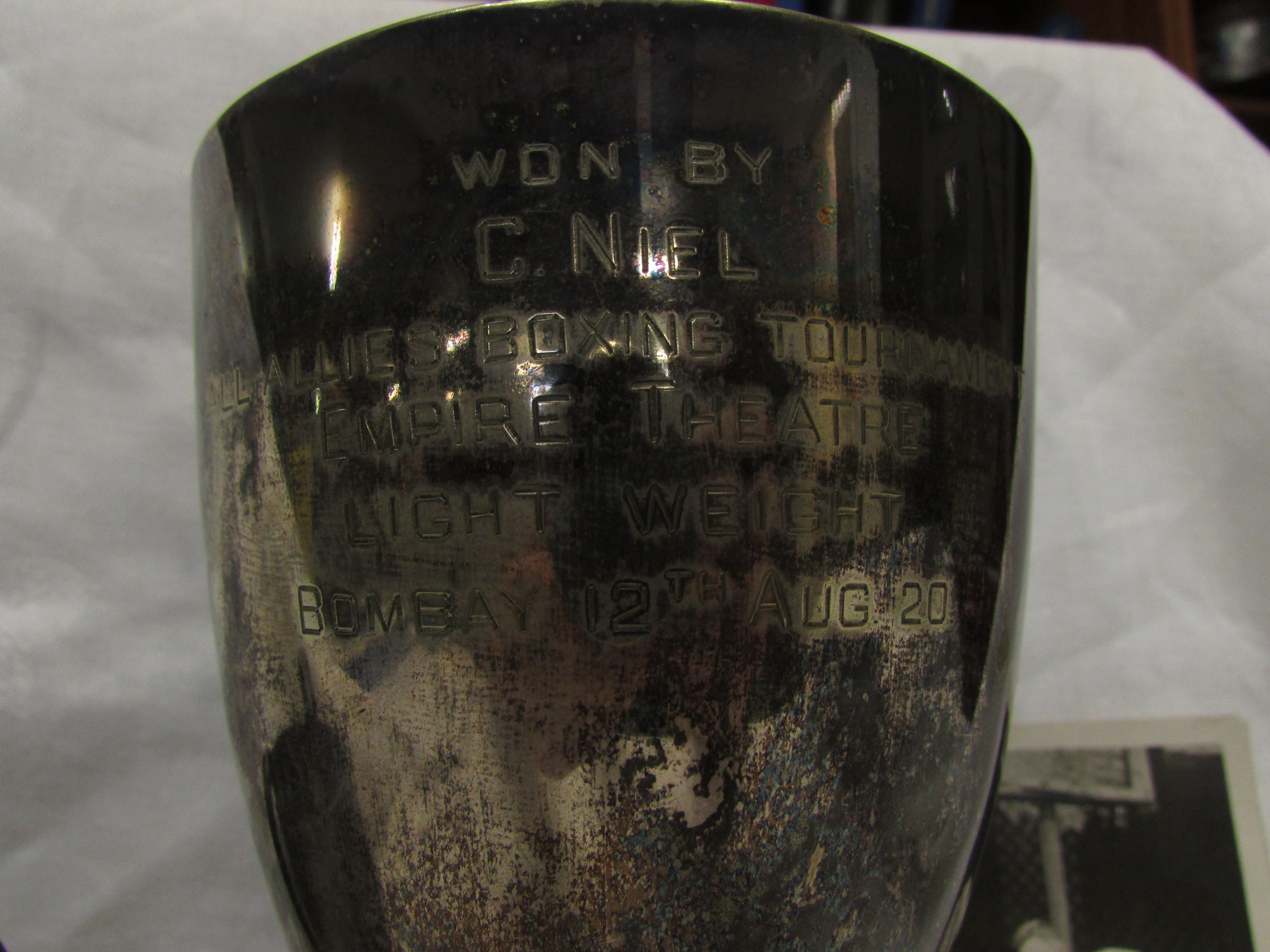 Lot 194 - Boxing interest - an electroplated trophy cup engraved 'WON BY C. NIEL ALL ALLIES BOXING