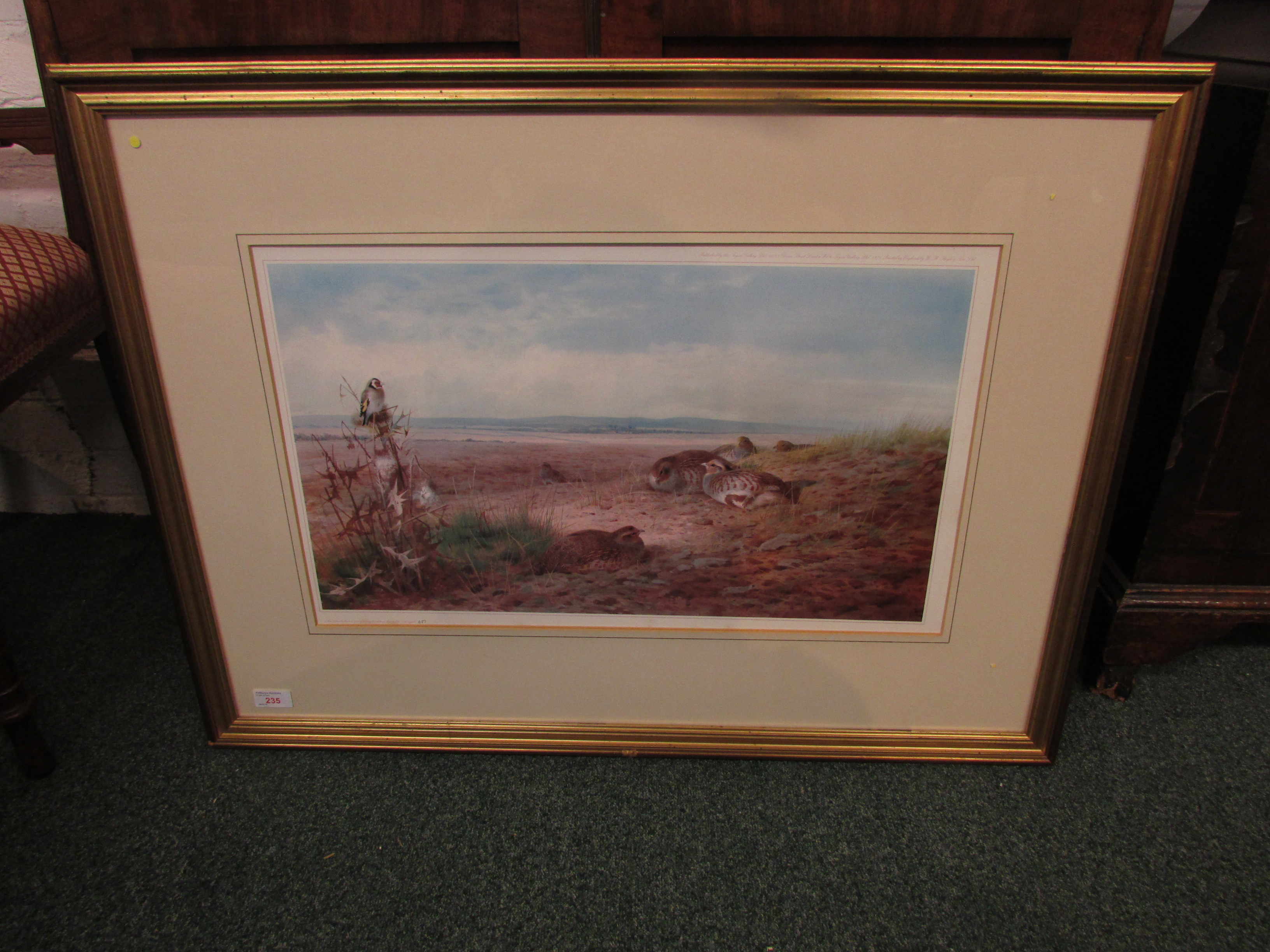 Lot 235 - After Archibald Thorburn (1860-1935) - partridges and goldfinch, limited edition colour reproduction