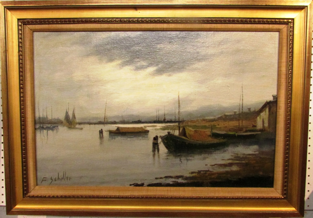 Lot 213 - F Schiller - river and barges, oil on canvas, signed lower left, 36.5cm x 57cm, in a modern gilt